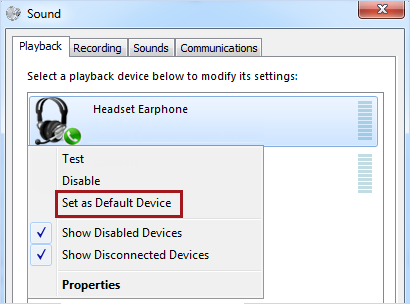 Set device as default in Windows