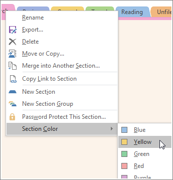 Screenshot of how to change a section color in OneNote 2016.