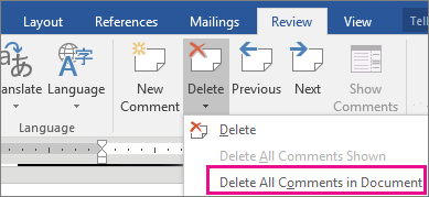 The Delete All Comments in Document option is highlighted on the Review tab.