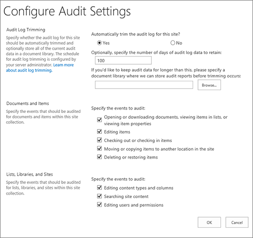 Configure Audit settings in the Site Settings dialog