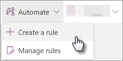 Screenshot of creating a rule from the Automate menu of a list