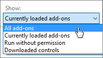 Manage Add-ons dialog box showing the Currently loaded add-ons dropdown.