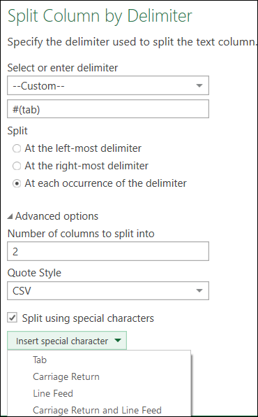Power Query - Support for Special Characters in Split Column