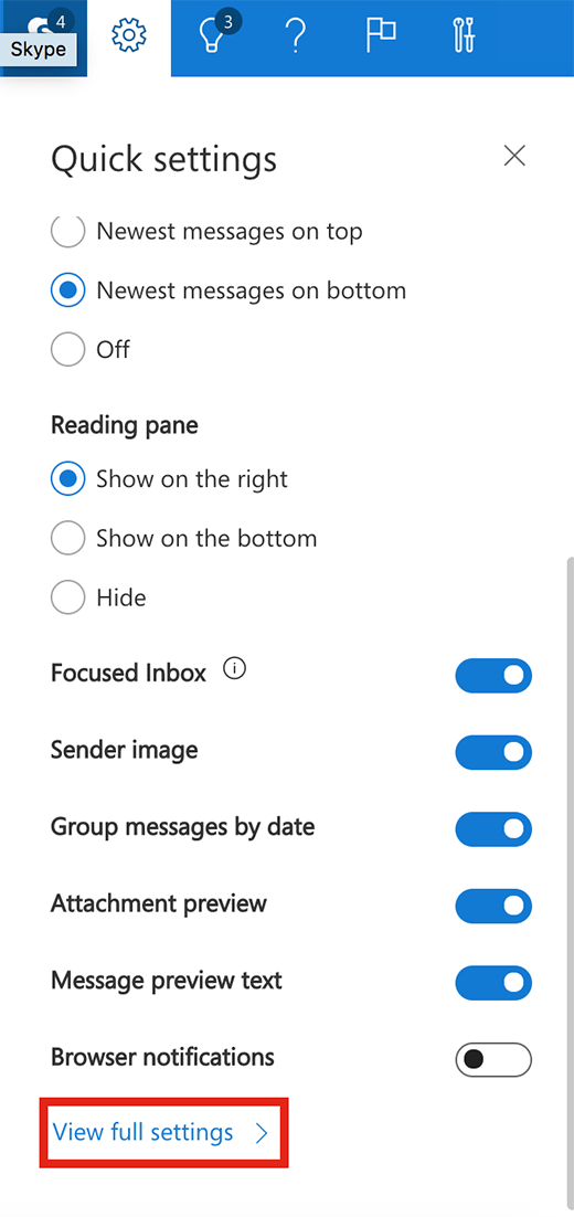 Screenshot showing option to View full settings