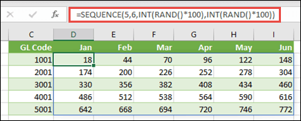 SEQUENCE example nested with INT and RAND to create a sample data set