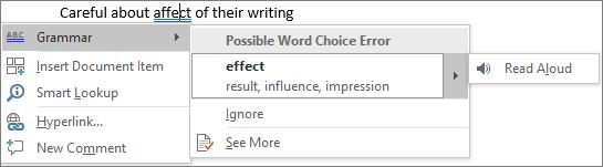 Grammar error suggestions