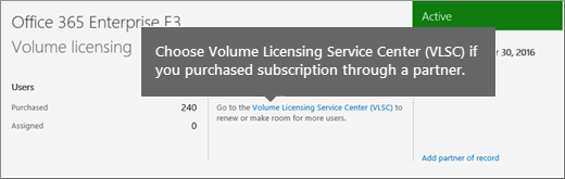 Volume Licensing Service Center (VLSC) link.
