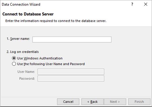 Data Connection Wizard screen 1