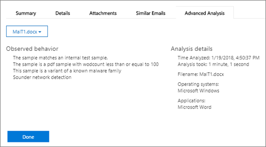 You can view more information, such as summary, details, and advanced analysis for each message