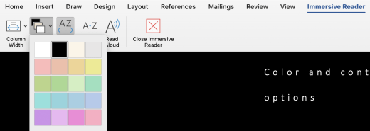 The Immersive reader menu for page color in Word for Mac.