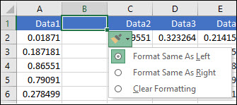 Image of the Insert Options button that's displayed after inserting rows or columns.