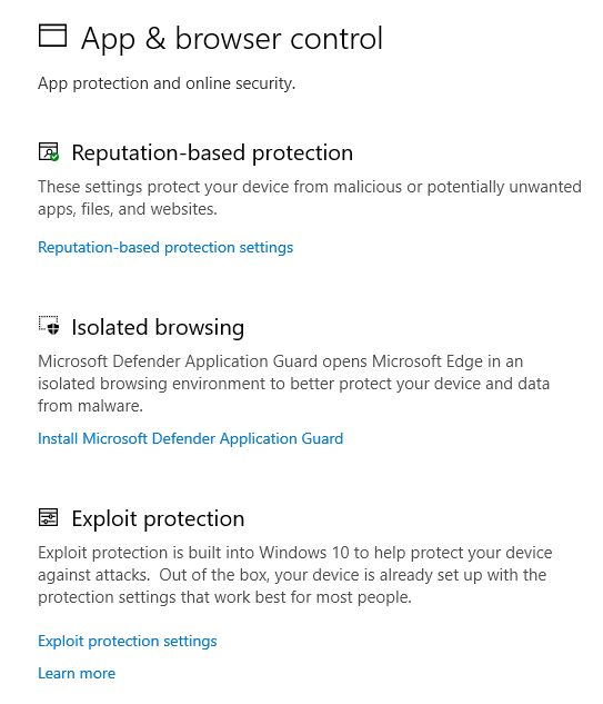 App & browser control in Windows Security
