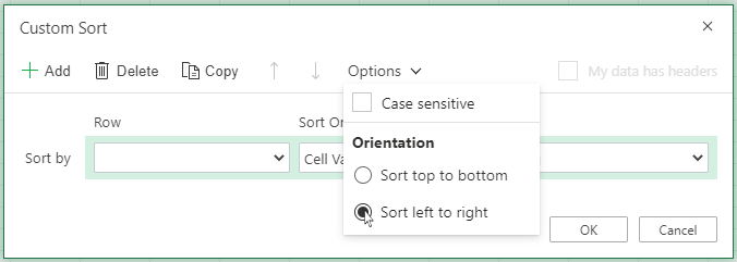 Custom sort open 'Options' Menu and select sort left to right