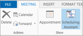 Scheduling Assistant button in Outlook 2013.