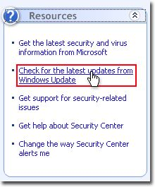 Select Start > Control Panel > Security Center > Check for the latest updates from Windows Update in Windows Security Center.