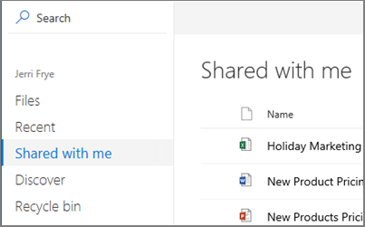 Screenshot of the Shared with me view in OneDrive for Business