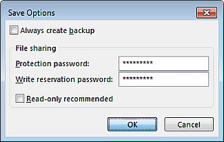 Save Options dialog box image
