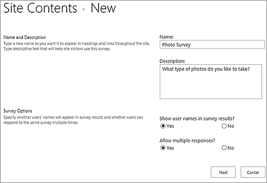 New survey dialog box with text boxes filled in.