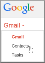To import Gmail Contacts to Office 365, in Gmail, select Gmail then Contacts