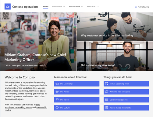 Image of the department site template landing page