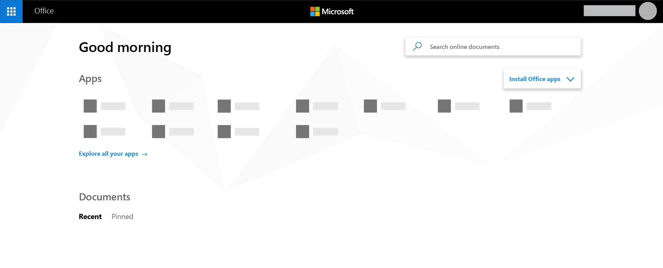 The Office 365 home page