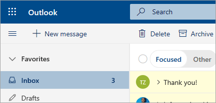 A screenshot of Mail in the Outlook on the web beta