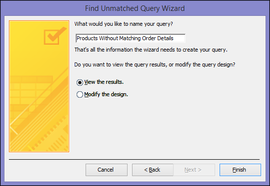 Enter a name for your unmatched query in the Find Unmatched Query Wizard dialog box