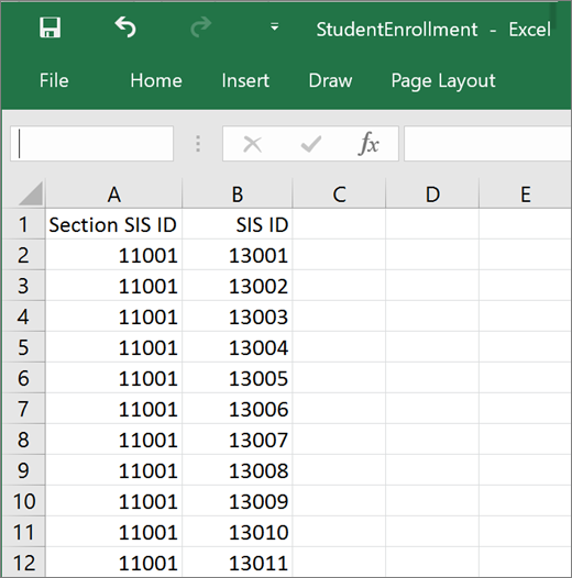 Minimum required attributes for StudentEnrollment.csv file