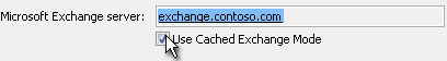 Use Cached Exchange Mode check box