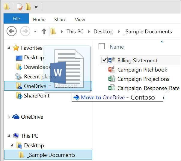 Moving a file into OneDrive for Business from File Explorer