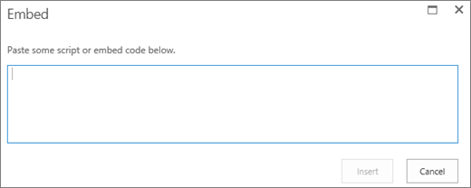 Use the Embed dialog in SharePoint Online to paste script or embed code for video or audio files and then insert the code.
