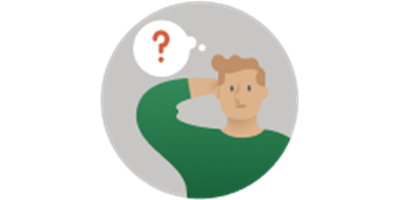 Illustration of man beside question mark