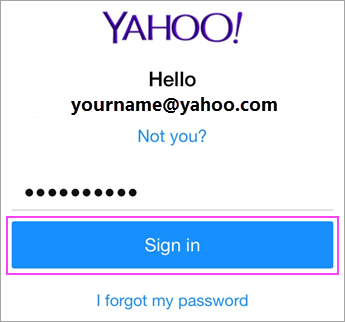 Enter Yahoo password