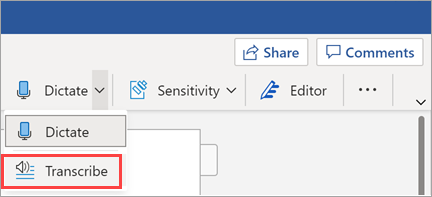 Shows Transcribe button in Word