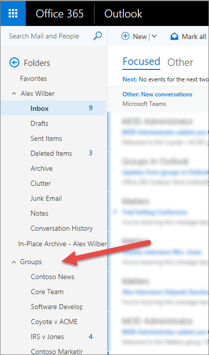 You'll find your groups on the navigation pane to the left in Outlook or Outlook on the web