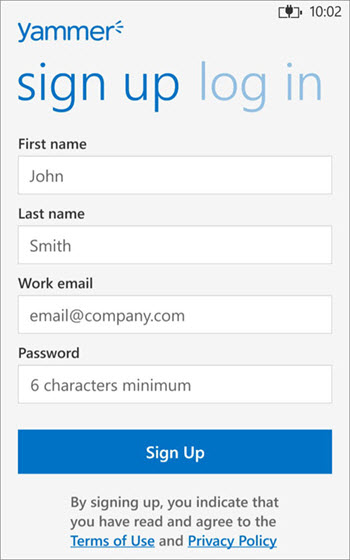 Yammer Sign Up