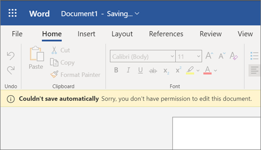 Screenshot of Couldn't save automatically error while editing a document in Word