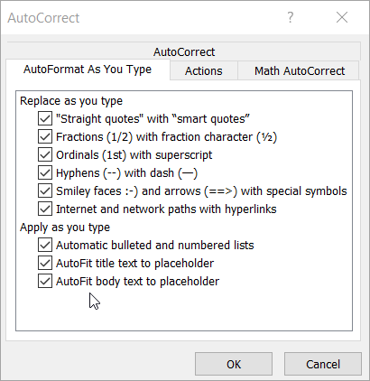 Options on the AutoFormat As You Type Tab