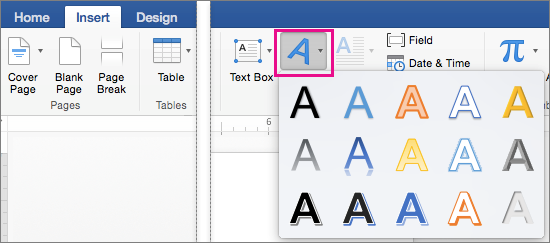 Insert tab with the WordArt option highlighted.
