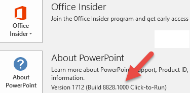 A screenshot showing the version and build number next to the About PowerPoint button