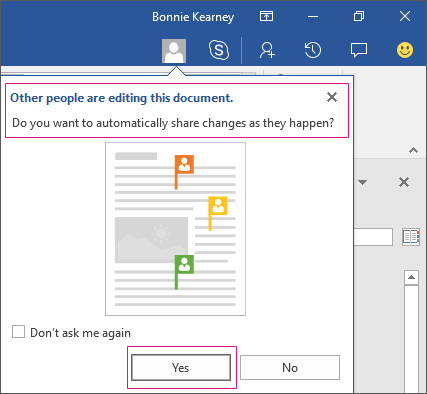 Other People Are Editing This Document prompt is shown from Share command