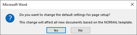 Confirm change of default margin settings