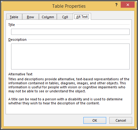Alt Text tab in the Table Properties dialog box