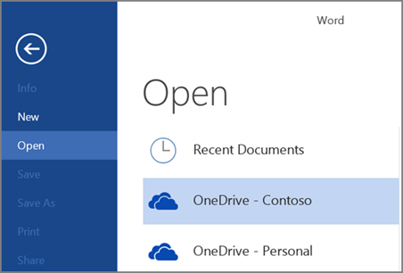 Opening a file from OneDrive for Business in Word