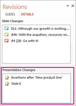 Presentation Changes