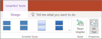 Alt Text button on the ribbon for a SmartArt in PowerPoint Online.