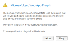 Allow Lync Web App plug-in