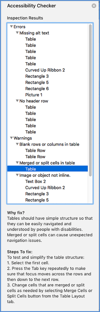 Screen shot of Accessibility Checker menu