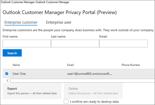 Screenshot: Export Outlook Customer Manager customer's data