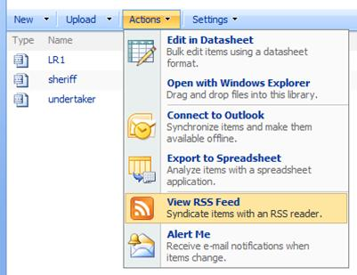 SharePoint site Actions menu showing View RSS Feed selection